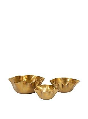 Set of 3 Gold Ava Wavy Bowls