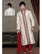 Off White and Red Art Dupion Kurta with Churidar