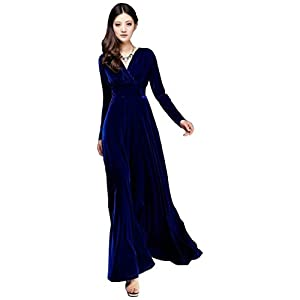 Santana Women Gorgeous Pleuche Stretchy Maxi Dress|M|Blue