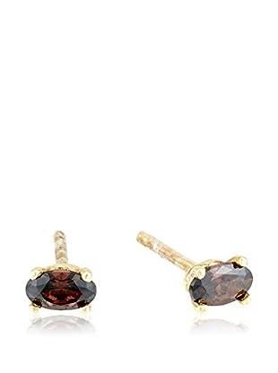 Cordoba Jewels Pendientes Oval Fume plata de ley 925 milésimas bañada en oro / Dorado