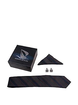 GIORGIO DI MARE Set Corbata + Pañuelo + Gemelos Rayas