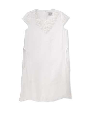 Blush by Us Angels Girl's Cap Sleeve A-Line Dress (White)