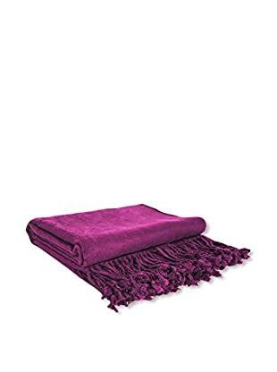 PÜR Cashmere Rayon From Bamboo Velvet Throw, Eggplant
