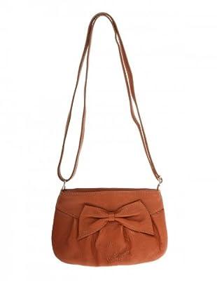 Elysa Schultertasche aus Leder mitSchleife (Camel)