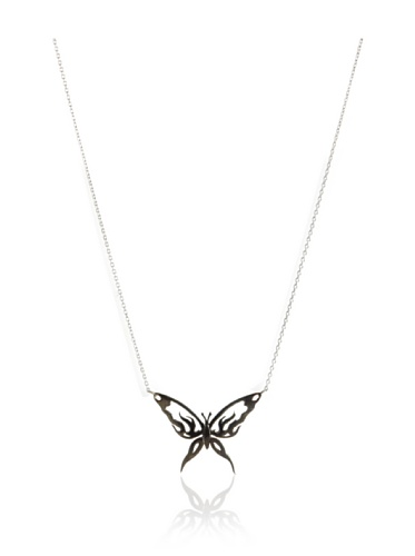 Catherine Angiel Silver & Black Rhodium Butterfly Pendant Necklace