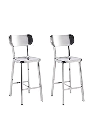 Zuo Set of 2 Winter Counter Chairs, Polished Stainless Steel