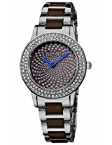 August Steiner Crystal Glitz Brown Ceramic And Silver-Tone Ladies Watch As8052Br