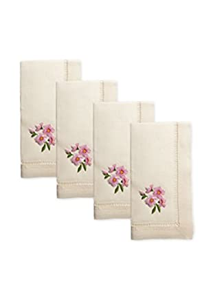 Henry Handwork Set of 4 Cherry Blossom Embroidered Napkins, Ivory