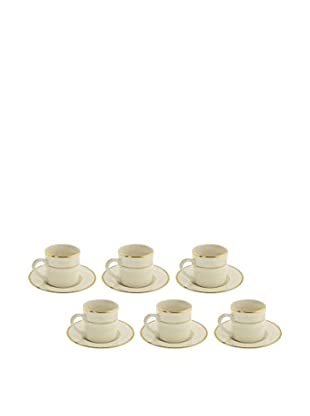 10 Strawberry Street Set of 6 Cream Double Gold Demi Can Cups & Saucers, Cream/Gold