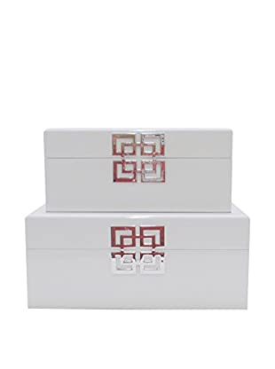 Three Hands Set of 2 White Wood Boxes