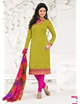 Saara Lime Yellow And Pink Embroidered Dress Material - 148D6009