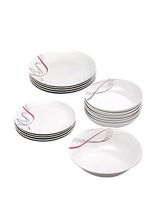 Tognana  Geschirr 19 tlg. Set Radial weiß/pink