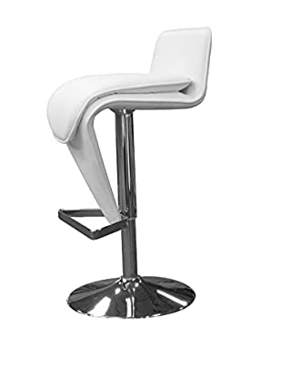 Furniture Contempo Hudson Bar Stool, White/Chrome