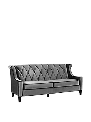Armen Living Barrister Sofa with Black Piping, Grey Velvet