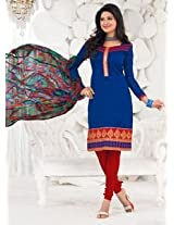 Saara Blue And Red Embroidered Dress Material - 148D6016