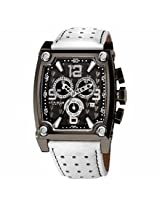 Akribos Conqueror Chronograph White Leather Mens Watch Ak415Wt