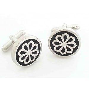 Leaf Jewel Maze Black Enamel Cufflink-Silver