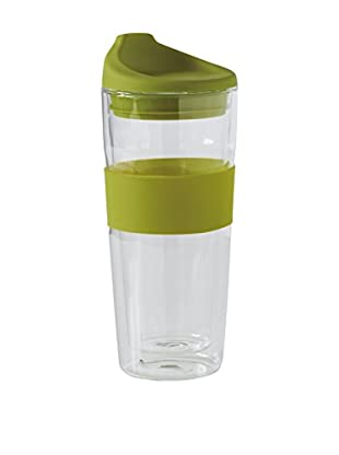 Torre & Tagus To-Go Silicone Grip Glass Double Wall 14-Oz. Cup, Green