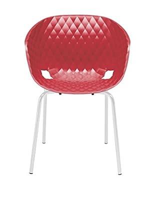 Metalmobil Sessel 2er Set Unika-594 rot/weiß