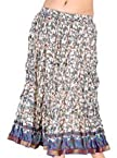 Little India Fancy White Base Floral Designer Cotton Skirt Blue Short Skirt - DLI3SKT176