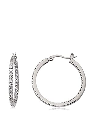 Riccova Retro Inside-Out CZ Hoop Earrings, Silver