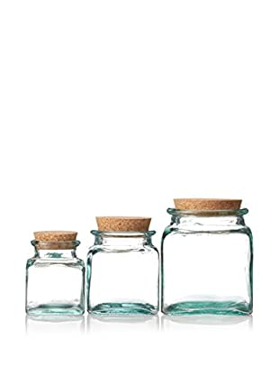 French Home Set of 3 Square Jars with Cork, Clear