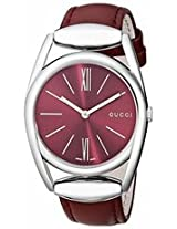 Gucci 139 Horsebit Red Dial Red Leather Ladies Watch Ya139402