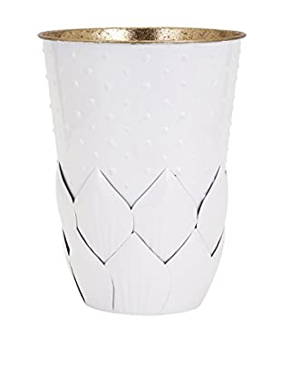 Macon Small Metal Leaf Vase, White
