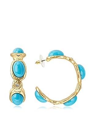 Kenneth Jay Lane Crystal & Turquoise Hoop Earrings