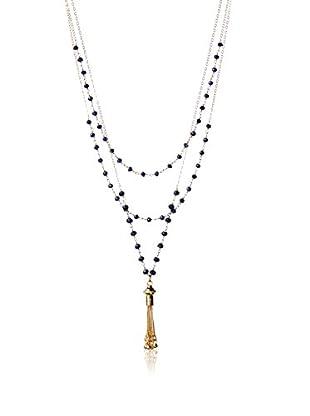 Wendy Mink Triple Strand Lapis Rosary & Chain Tassel Pendant