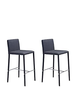 Zuo Modern Confidence Set of 2 Modern Counter Chairs, Black