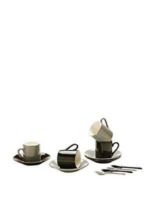 Classic Coffee & Tea Set of 4 Cup & Saucers With Spoons, Black/Grey