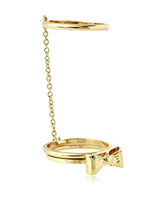 Ecru Metal Bow Ring And Chain Linked Ring Set