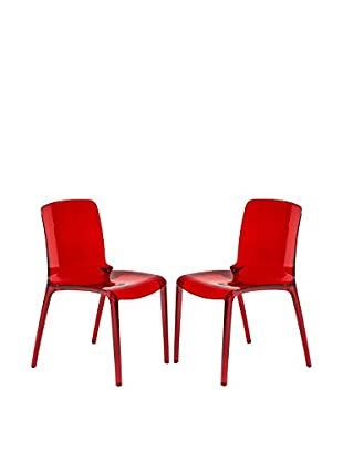 LeisureMod Set of 2 Murray Modern Dining Chairs, Transparent Red