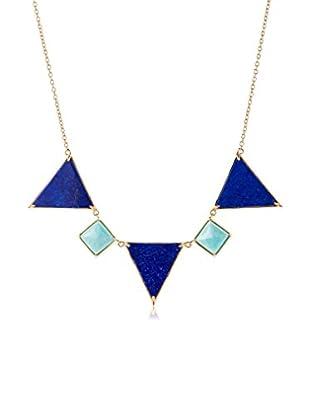 Elizabeth and James Gold-Plated Metropolis Lapis & Amazonite Triangle & Pyramid Necklace