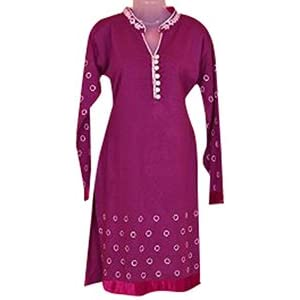 Indian Treasures Boutique Embroidered Kurti - Purple