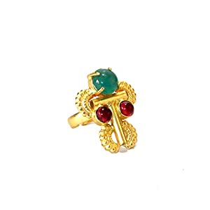 Daamak Jewellery Traditional Red And Green Stone Ring