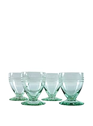 Set of 4 French Etched Port Glasses, Green