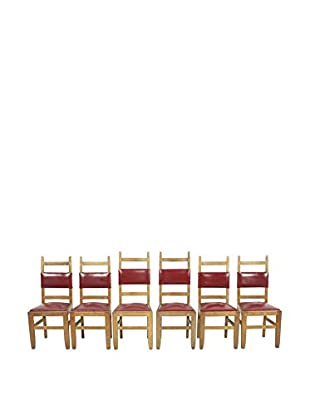Set of 6 Spanish Oak Chairs, Brown/Red