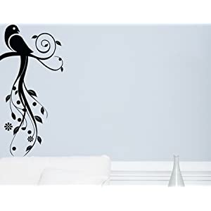 Shelly's Walls Black Colored Parrot Wall Decal