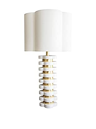 Couture Quatrefoil 1-Light Lamp, White/Lacquered Gold Leaf