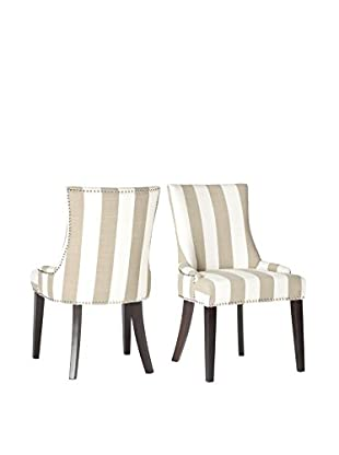 Safavieh Set of 2 Lester Dining Chairs, Taupe/White Stripe