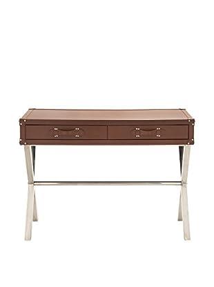 Steel, Wood & Vinyl Console Table, Brown