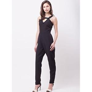 KOOVS Eyelash Lace Detail Jumpsuit - Black