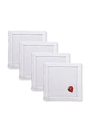 Henry Handwork Set of 4 Red Seashell Embroidered Cocktail Napkins, White