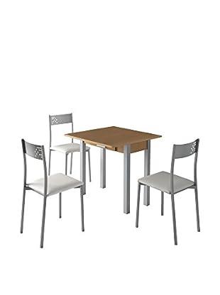 KITCHEN FURNITURE & DECO HOME Stuhl 4er Set grau/weiß