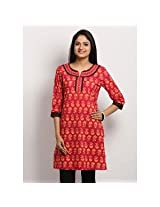 Aapno Rajasthan Women's Kurta - Black, Orange & Red