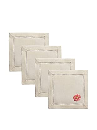 Henry Handwork Set of 4 Lotus Embroidered Cocktail Napkins, Ivory