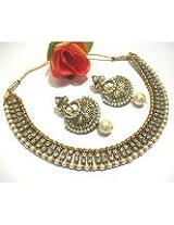 Antic pearl stone polki necklace set