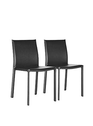 Baxton Studio Set of 2 Edda Leather Dining Chairs, Black